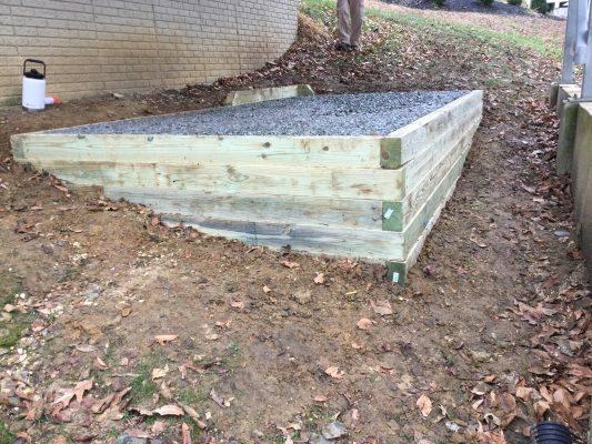 A gravel shed foundation in Dunkirk, MD