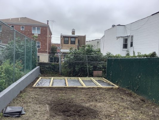 """A gravel shed foundation in Bronx, NY"""