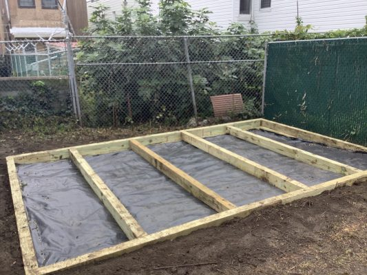 """""""A gravel shed foundation in Bronx, NY"""""""