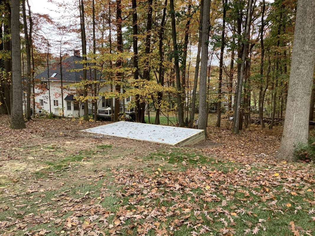 """A gravel shed foundation in Hershey, PA"""