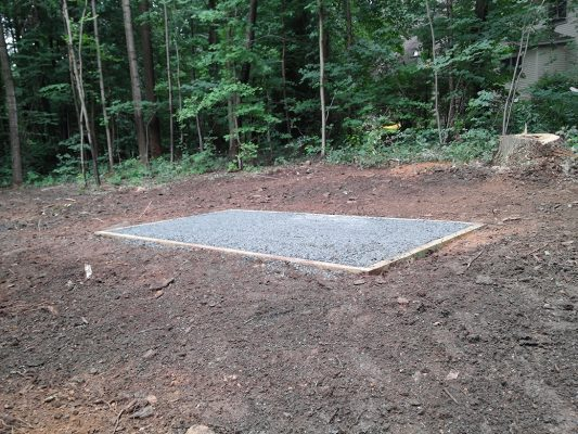 A crushed stone shed foundation in Pequea, PA