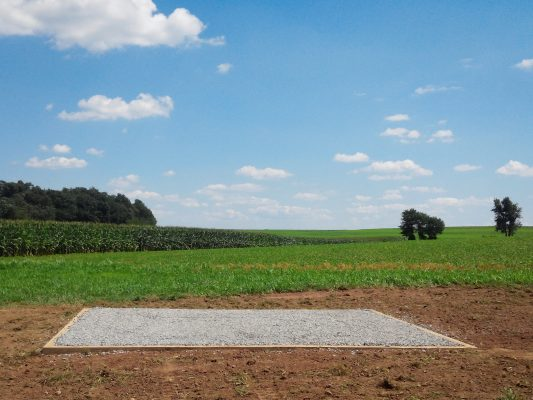 A completed gravel shed foundation in Pennsylvania