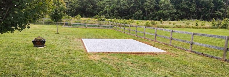 A gravel shed foundation installation