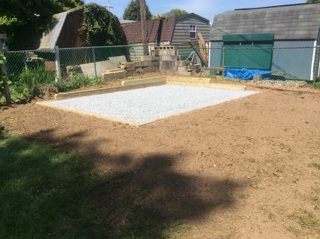 Gravel shed foundation installation completed