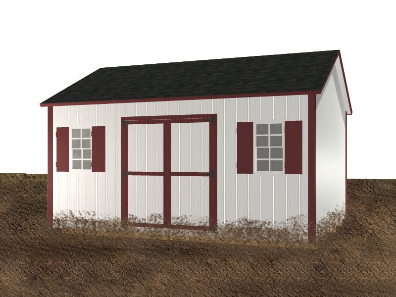 Diagram of a shed in the mud with no gravel foundation