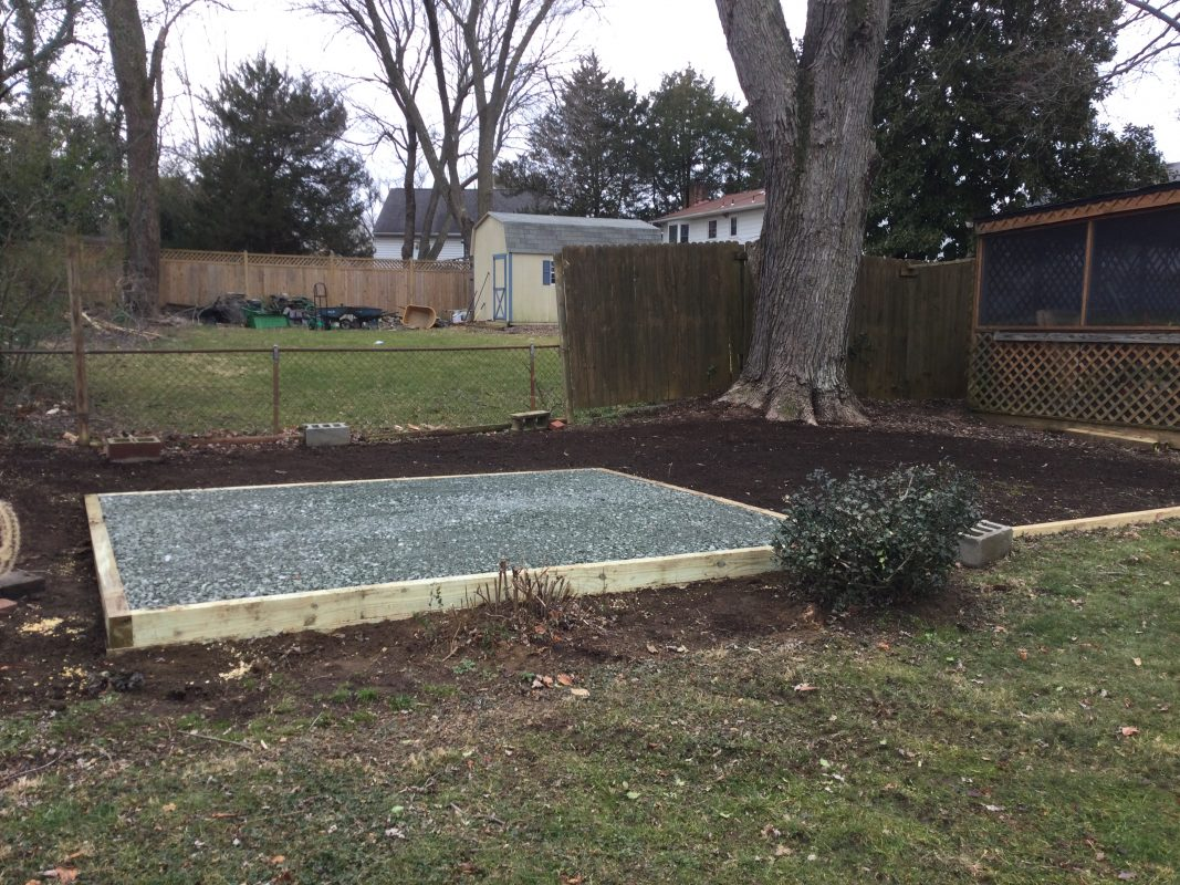 A gravel shed foundation in Annapolis MD