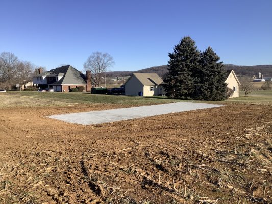 A gravel shed foundation in East Earl PA