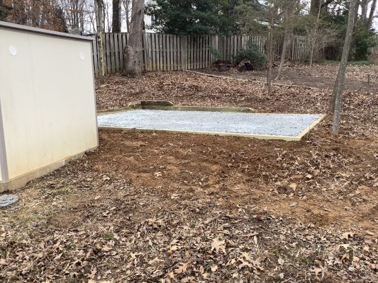 A shed foundation in Herndon VA