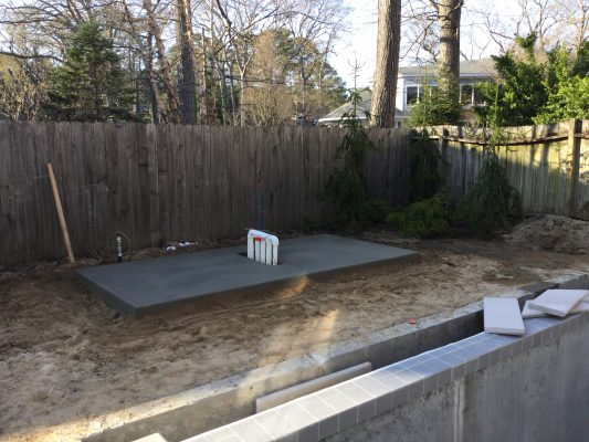 A pool equipment pad foundation in Rehoboth Beach, DE