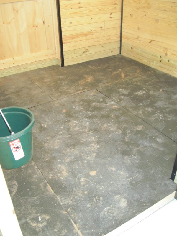 Rubber horse stall mats installed by Site Preparations, LLC