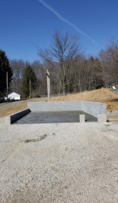 A concrete garage base installation in Cochranville, PA