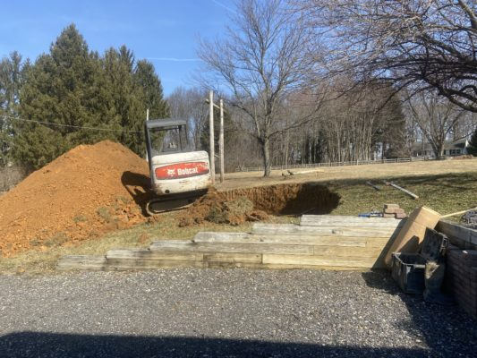 Excavation for a concrete garage floor in Cochranville, PA
