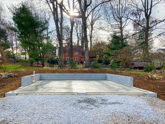A concrete block foundation installation in Chester Springs, PA