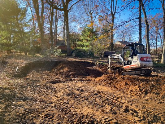 Excavation for a garage foundation in Chester Springs, PA