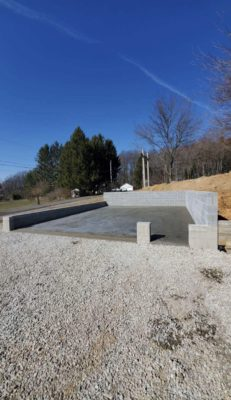 A concrete garage foundation installation in Cochranville, PA