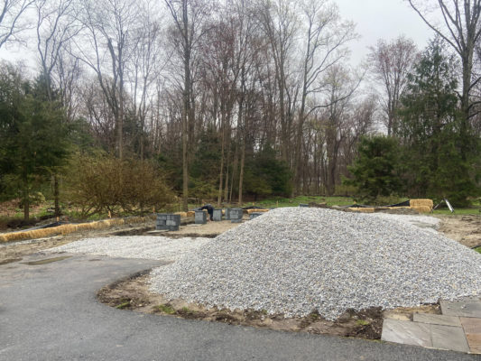 A concrete garage foundation installed in Connecticut