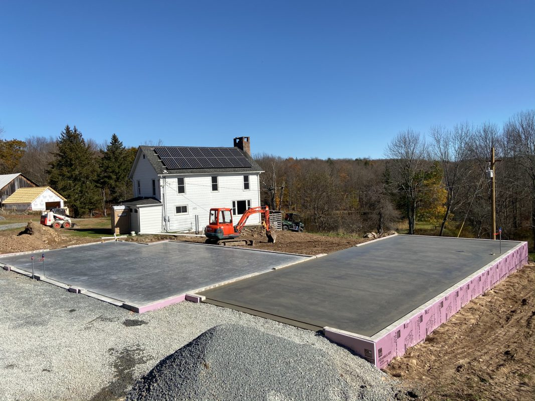 An installed garage foundation in Greeley, PA