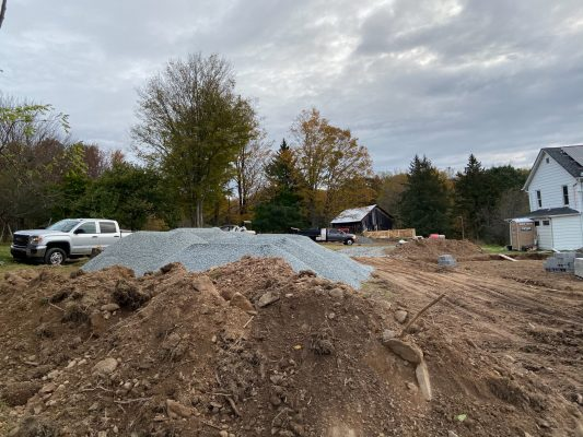 Gravel for a garage foundation in Greeley, PA