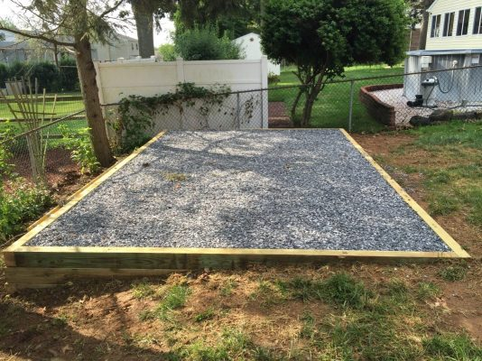 A gravel shed foundation with a perimeter in Greenville, DE