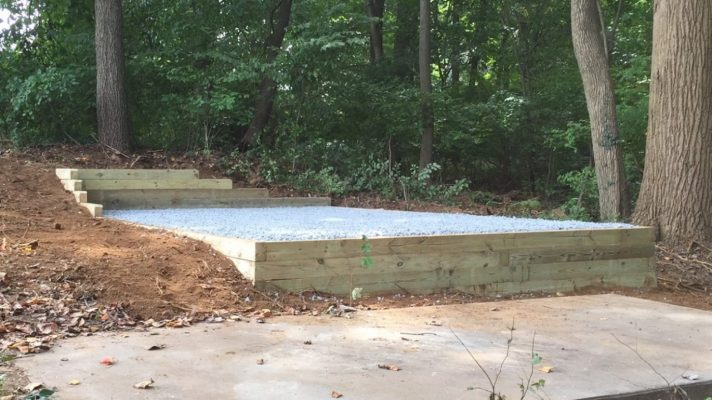 Gravel shed foundation built on a slope in Malvern, PA