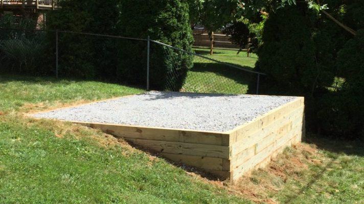 A level gravel shed foundation built on a slope